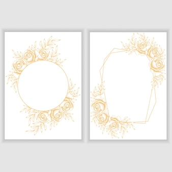 Card template with golden rose floral frame