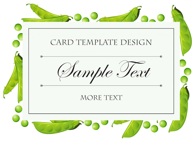 Card template with greenpeas around border illustration