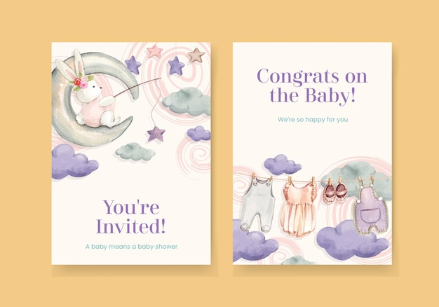 Card template with hello baby concept