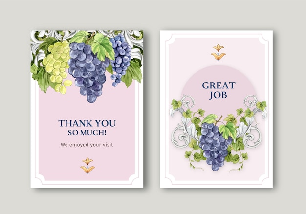 Card template with italian style in watercolor style