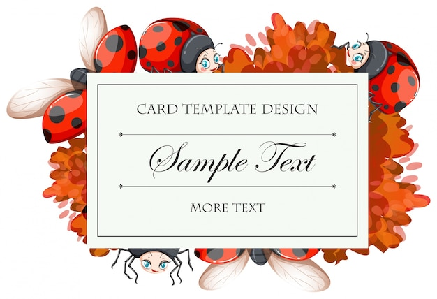 Card template with ladybugs  illustration
