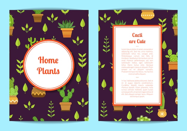 Card template with lettering, cacti in pots, framed circle and rectangle with place for text