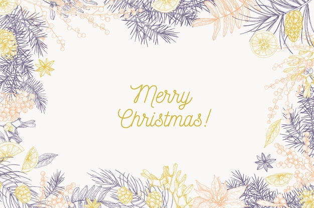 Шаблон карты с надписью merry christmas и рамкой из хвойных веток