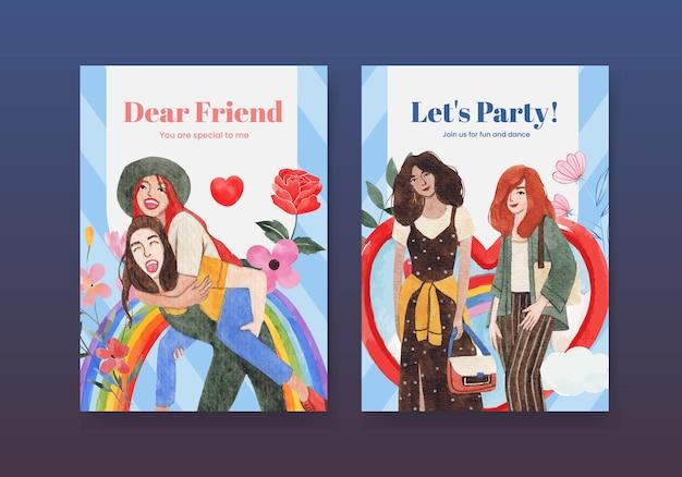 全国友情の日のコンセプト、水彩スタイルのカードテンプレート