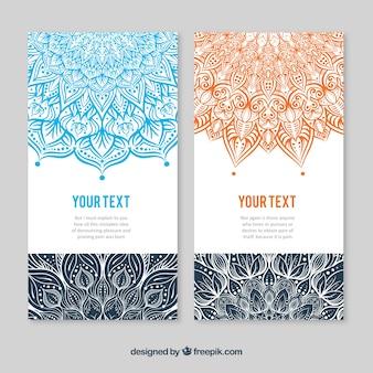 オレンジとブルーのマンダラデザインのカードテンプレート