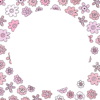 분홍색 낙서 꽃과 초대장을 위한 둥근 모양이 있는 카드 템플릿.