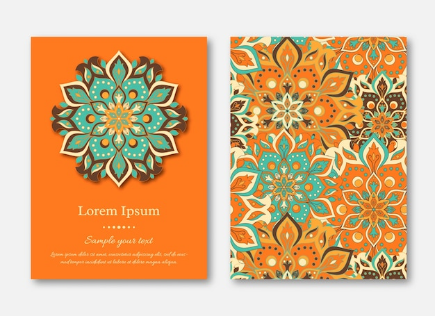Card template with sample text and mandala design. oriental style.