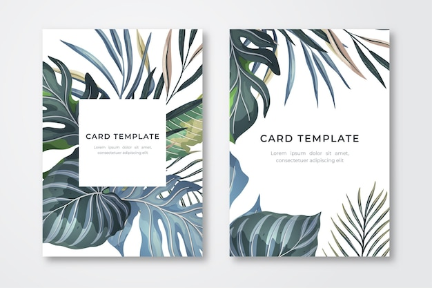 Card template with tropical exotic leaves