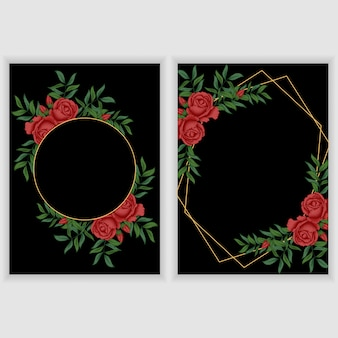 Card template with vintage floral frame