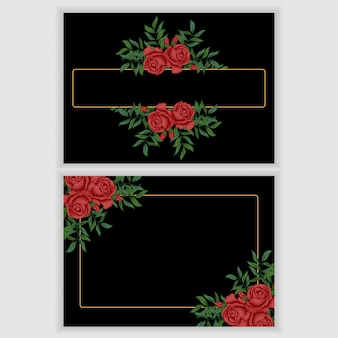 ビンテージ花のフレームを持つカードテンプレート