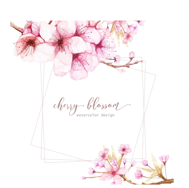 Card template with watercolor flowers of cherry blossom