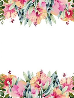 Card template with watercolor hibiscus flowers
