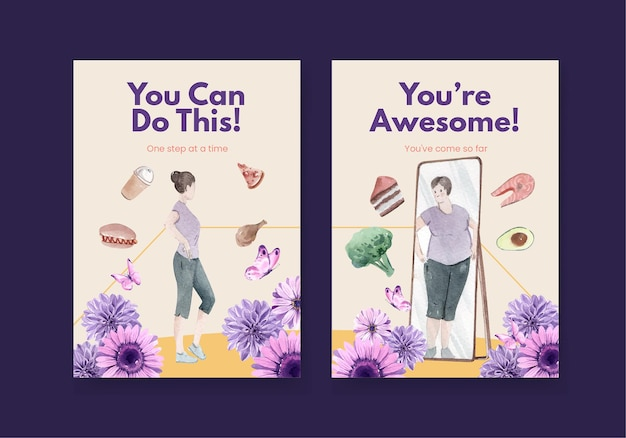 Card template world eating disorders action day in watercolor style