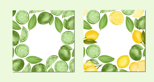 Card templates of hand drawn limes and lemons, illustration, round frame Premium Vector