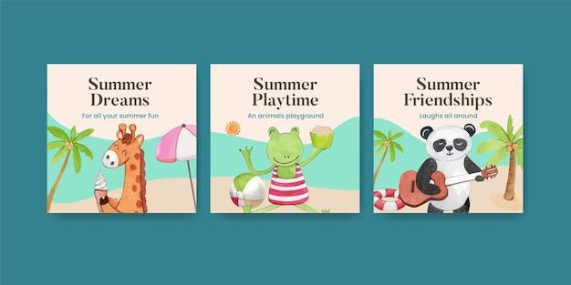 水彩風の夏の動物とカードテンプレート