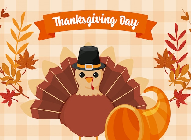 Card of thanksgiving and cartoon turkey