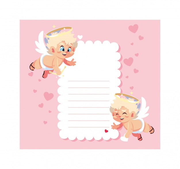 Card valentines day with cupid angels , sheet to write