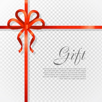 Card vector illustration on transparent background, luxury wide gift bow with red knot or ribbon and space frame for text, gift wrapping