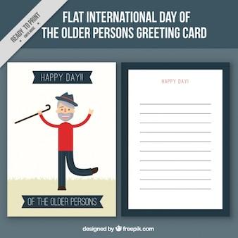 Карточка с улыбающимся деда за день пожилых людей