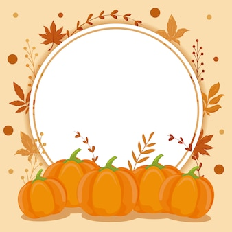 Card with autumn leaves and pumpkins