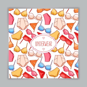Card with beautiful female colored underwear and place for text