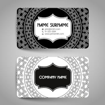 검은 색과 흰색 장식 요소와 카드