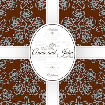 Card with brown floral japanese pattern