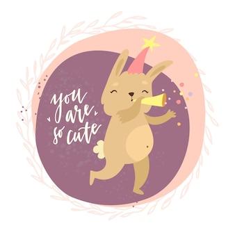Carta con coniglietto e sei così carino lettering