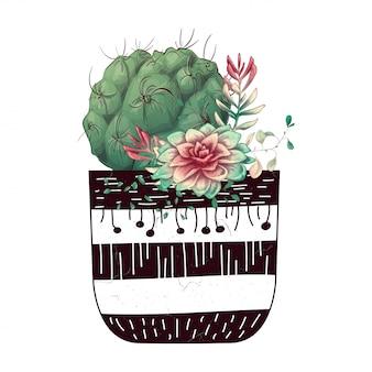 선인장과 다육 식물 카드 세트 프리미엄 벡터