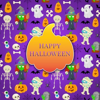 Card with cartoon monsters for halloween