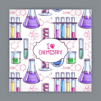 Card with the chemical formulas and flasks. hand-drawn illustration