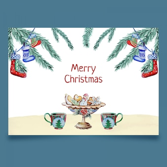 card with christmas decotation