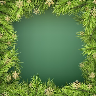 Card with christmas tree border, realistic fir-tree branches frame on green background.