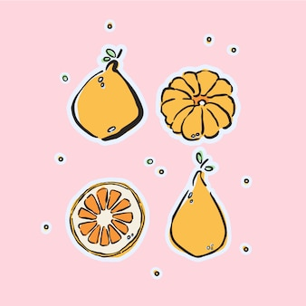 Card with colorful hand-drawn fruits in vector