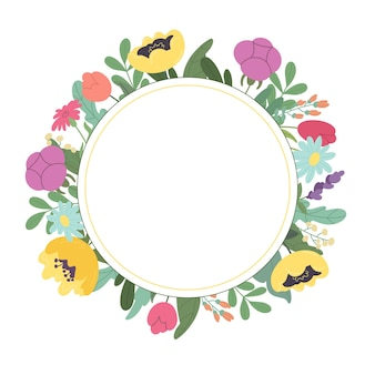 Card with colorful wildflowers on a white background vector illustration