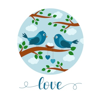 Card with couple of birds on branch, lettering love, vector illustration