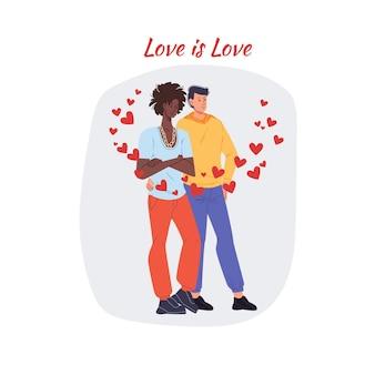 バレンタインデーのデートで恋をしているカップルとのカード