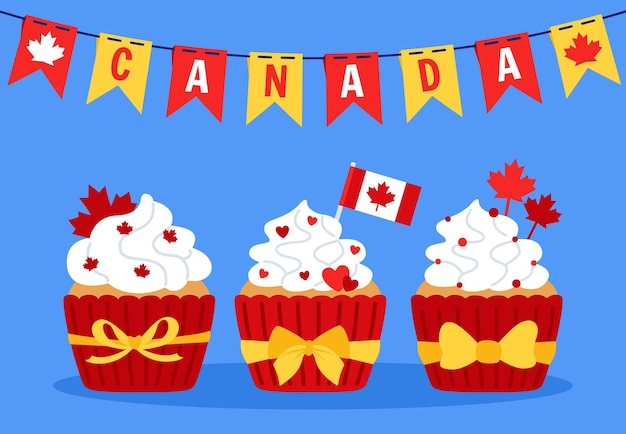 Card with cupcakes happy canada day, garland bunting flagcartoon canadian patriot cakes