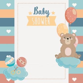 귀여운 수염 동물과 딸랑이 카드