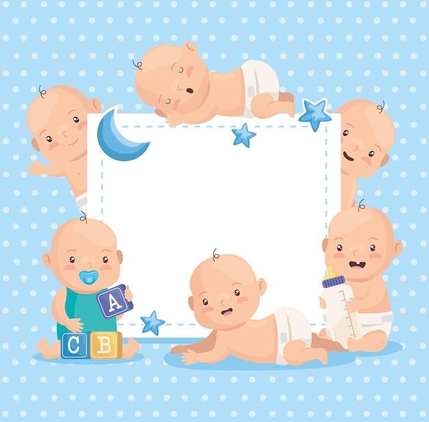 Card with cute boys