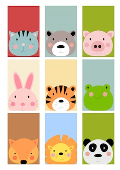 Card with cute hand drawn animals characters collection set. cartoon zoo animals hare, tiger, frog, fox, lion, panda, cat, bear, pig