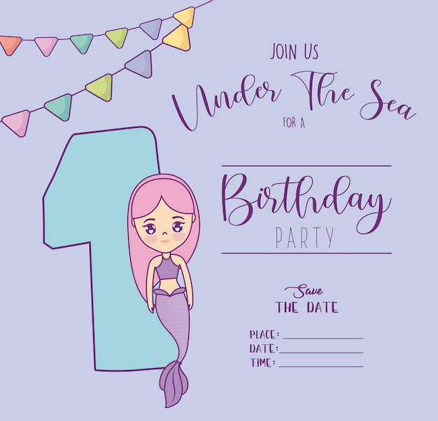 Card with cute mermaid and number one