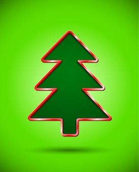 Card with dark cut christmas tree silhouette
