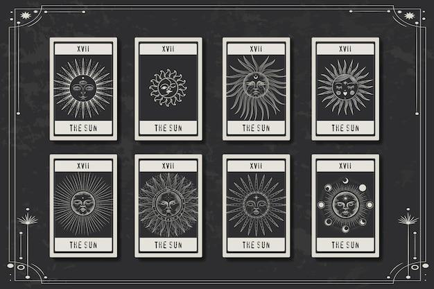 ヴィンテージの彫刻スタイルで太陽活動のさまざまな段階を持つカード
