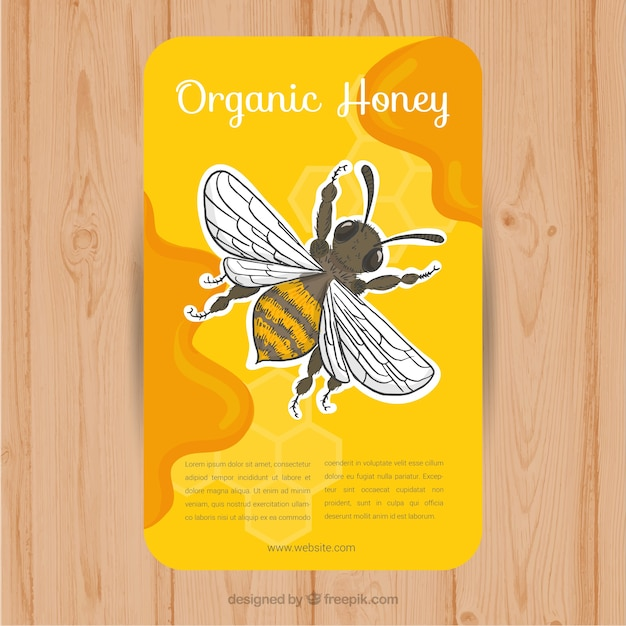 Card with drawing of a bee