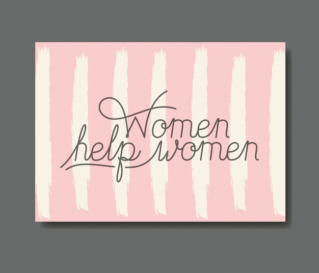 Card with female help message hand made font