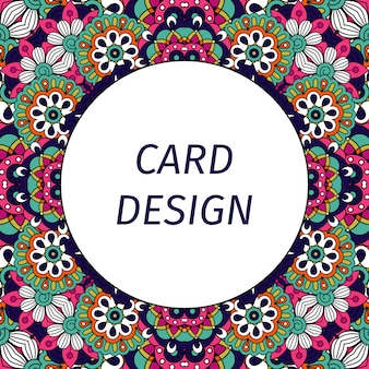 Card with floral violet ornament