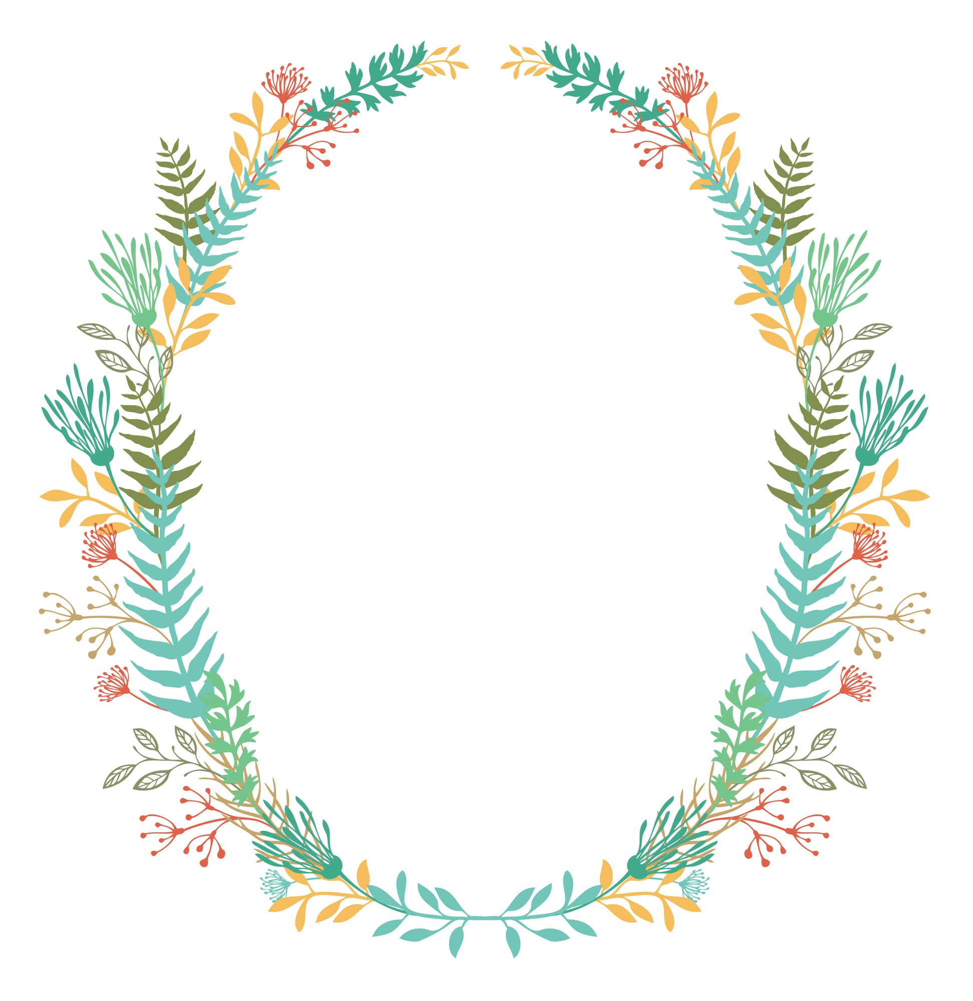 Card with frame of flowers and ferns
