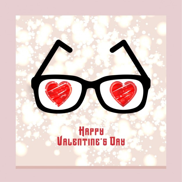 Card with glasses for valentine