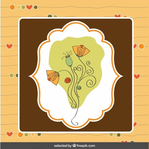 손으로 그린 꽃을 가진 카드